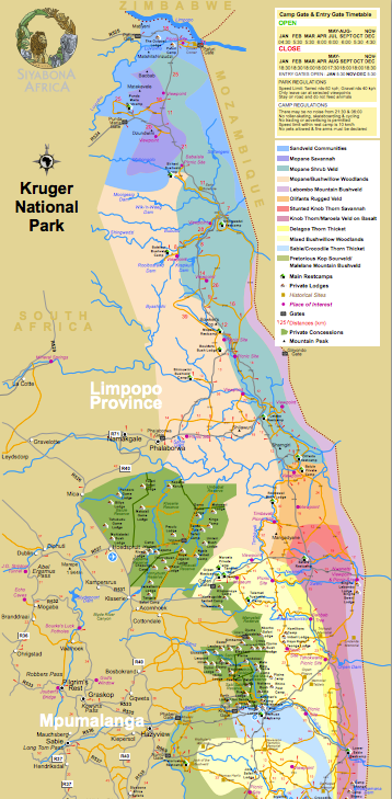 Map of Kruger National Park | CABS Car Hire South Africa
