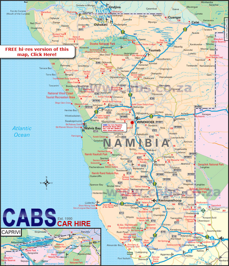 Namibia On Africa Map.Map Of Namibia From Cabs Car Hire South Africa Car Hire In Namibia